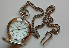 "Mens Pocket Watch. Roman Numerals silver 14"" chain and clip. FREE spare battery"