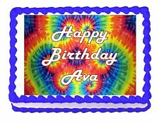 Tie Dye Hippie Party Edible image Cake topper decoration - personalized free!