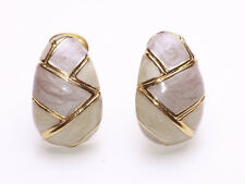 FABERGE EGG STYLE GOLD METAL WITH TAUPE & CREAM LACQUER CLIP ON EARRINGS(ZX46)