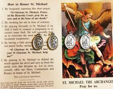 ST. MICHAEL (SAINT MICHAEL) 4 BLESSED MEDALS WITH A PRAYER CARD PENDANT/CHARM