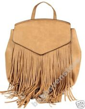 Womens Faux Leather Fringe Rucksack Backpack School Bag BROWN BEIGE Atmosphere