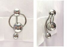 Surgical Steel Hoop Big Ball Dangle Barbell VCH Clitoral Hood Ring 14 gauge 14g