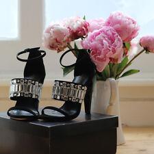 Little mistress noir/clair épais sangle talon haut sandales, peep toe, taille uk 3