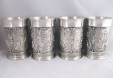 Eagle Pewter Tall Cups Goblets Asian Designs(4)