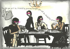 5x7 Original Ink Drawing - Tea Party Chandelier Japan Asian Fortune Cookie