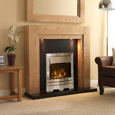 ELECTRIC OAK SURROUND SILVER BLACK GRANITE MODERN FIRE FIREPLACE SUITE LIGHTS