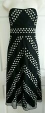 Coast strapless dress, black, white, size 10