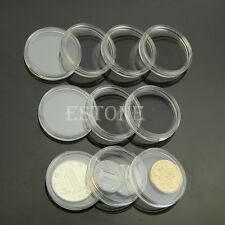 28mm 10pcs Applied Clear Round Cases Coin Storage Capsules Holder Round Plastic