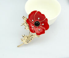 Crystal Diamante Pleated Pin Badge Poppy Flower Brooch Trendy Headware Gift Chic