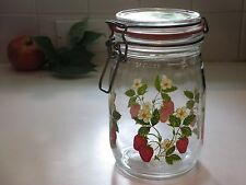 Strawberry Niveau De Remplissage Glass Canister/Jar Red White Flowers France 1L