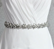Gorgeous Beads Bridal Applique Diamante Motif Rhinestone Floral Wedding Applique