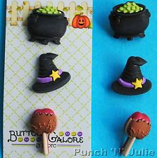 3 X Hechiza-Happy Halloween Sombrero De Bruja Toffee Apple Caldero Craft Botones
