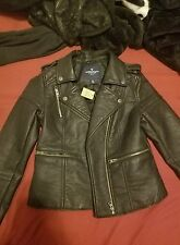 """vegan leather American Eagle quilted moto jacket """"small"""""""
