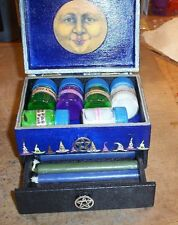 WICCAN PAGAN ALTAR CANDLE BOX WITH CANDLES AND CANDLE WASHES