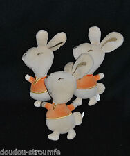 Lot 3 Peluche Doudou Lapin Beige Orange AUCHAN Semi Plat Velour 22 Cm TTBE