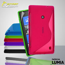 S Curve Gel Case+ Free Screen Guard for Nokia Lumia 520 Jelly Tpu soft cover
