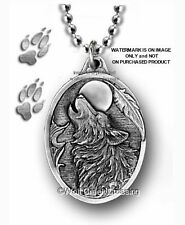 LARGE WOLF MOON DOG EAGLE FEATHER NECKLACE WOLVES - MALE or FEMALE GIFT  PC22*