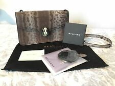 NWT BVLGARI SERPENTI FOREVER FLAP BAG in BROWN SHINY KARUNG SKIN.