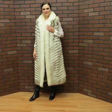 """lades real 48"""" long WHITE SILVER BLUE FOX FUR VEST GILLET from a coat MD to LG"""