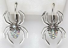 KIRKS FOLLY MAGIC SPIDER LEVERBACK EARRINGS -  antique silvertone