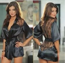 Sexy Lingerie Satin Lace Black Kimono Robe Night Gown and Thong  Size 8-12