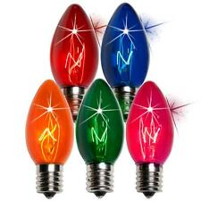 Box of 75 C9 Twinkle Multicolor Triple Dipped Transparent Christmas Bulbs