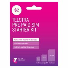 NEW $2 AUSTRALIA TELSTRA PREPAID MULTI FIT SIM CARD PACK 3G 4G NEXT G NANO MICRO