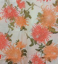Alfred Shaheen Fabric Vtg Hand Printed Hawaii Orange Flowers Gold Leaves 44x108