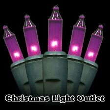 50 Mini Purple In/Outdoor Christmas Party Incandescent Lights 14ft Green Wire