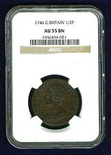 G.B./U.K/ENGLAND GEORGE II  1746 HALF-PENNY COPPER COIN CERTIFIED BY NGC AU55-BN