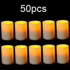 50 x Flameless Resin Pillar LED Candle Light w/Timer for Wedding Party Christmas