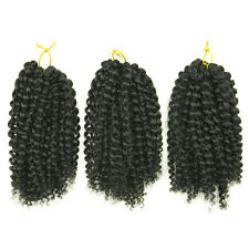 "3PCS MALI BOB Natural Black 8"" Curly Twist Crochet Braiding Hair Synthetic Fiber"