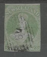 Nueva Zelanda Sg6 la Rara 1857 1 / - Green Imperf sobre papel azul Fine Used GATO £ 3750