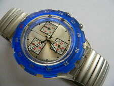 1997 Swatch Watch Blue Ring  Aqua Chronogram SBK117