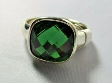 Ring Emerald Cut Green Austrian Crystal Solitaire Pave Setting Size 10 NWT T39