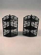 Set of 2 Miniature Dollhouse -Decorative Scroll Heart Design Corner Shelves
