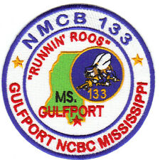 """US NAVY SEABEE PATCH, NMCB 133, GULFPORT MISSISSIPPI, """"RUNNIN ROOS""""            Y"""