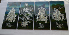 vintage INLAID mother of pearl panel fortune FU LU SHOU buddha set of 4
