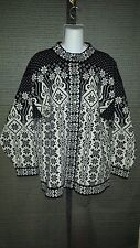 Dale of Norway Black & White Snowflake Long Cardigan Buttons M