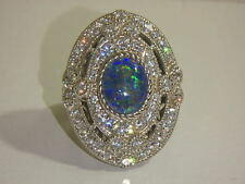 JUDITH RIPKA STERLING DIAMONIQUE OVAL OPAL TRIPLET RING NEW SIZE 5