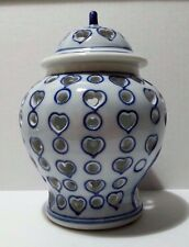 Asian Blue and White Porcelain/Ceramic Candle Holder with Hearts & Circles