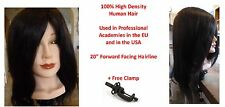 "Blk 100% Genuine High Density Human Hair Cosmetology Female 20"" Training Head"