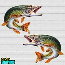 "Huge Pair 19"" Pike Sticker / Decal - Free UK P&P"
