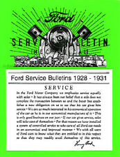Ford Model A Service Repair Bulletins Manual 1928 1929 1930 1931 Car and Truck