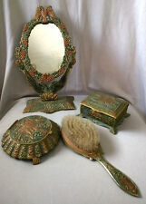 ANTIQUE BRASS Vanity Set: MIRROR Brush Powder Trinket Box EAGLE Enamel Dresser