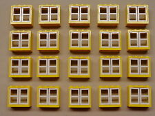 x20 NEW Lego Classic Windows CITY TOWN HOUSE PARTS Yellow w/ White Window Panes