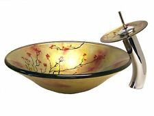 Nature flower trees Glass Sink Hand Paint Washbasin Tempered With grass Faucet