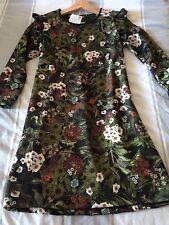 Zara VESTIDO Verde Floral Vestido De Té Verano BNWT Talla Pequeña