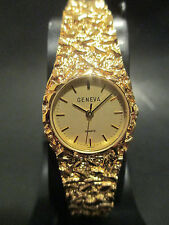 B49 New HOT Sharp Geneva Women's Gold Nugget Band Dress Watch Japan Movement