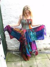 STUNNING RECYCLED PATCHWORK  SILK SARI PIXIE DRESS FAIRY ELF PAGAN SZ 6/18